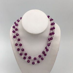 Vintage Purple & Clear Bead Necklace